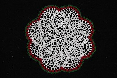 New Hand Crocheted Doily - white red green Christmas