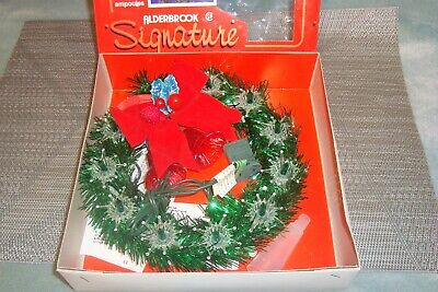 """Vintage 7"""" Green Tinsel Christmas Wreath 11 Light Tree Topper In Orig Box WORKS!"""