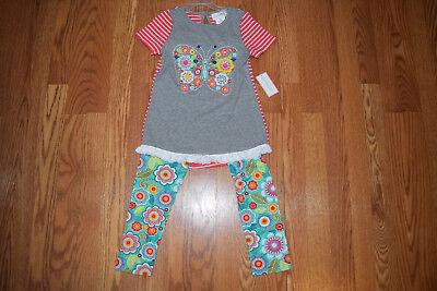 NWT Girls EMILY ROSE Gray Pink Striped Butterfly Dress Shirt 2 Piece Set Size 7