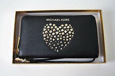 MICHAEL KORS Portemonnaie GIFTABLES LG FLAT CASE Leather black gold ()