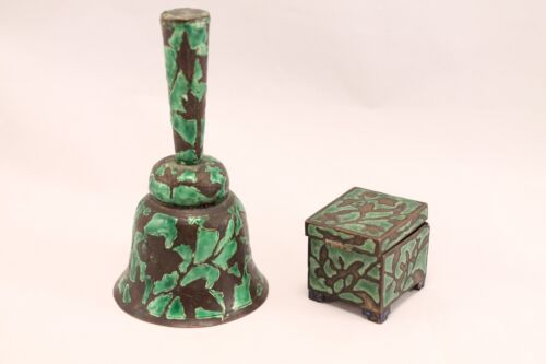 19th cen. ANTIQUE CHINESE SILVERED ENAMEL COPPER CLOISSONE BELL & STAMP BOX