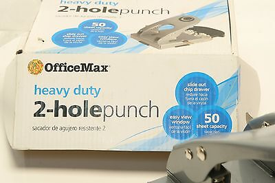 Heavy Duty 2-hole Punch Wslide Out Chip Drawer 50 Sheet Office Max Aa1b