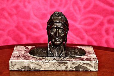 Antique Bronze Bust of Dante Alighieri (Italian Poet) on Marble Basement