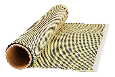 Yellow Kevlar Carbon Fiber Hybrid Cloth Twill Weave 3k 100cm X 50cm Fabric