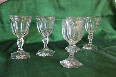 5 verres à vin blanc cristal Baccarat  ou Val Saint Lambert XIXe 19e  siècle