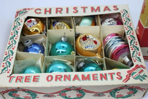 24 Vintage Christmas Fantasia Brand Glass Ornaments USA Indent Multi-Colored