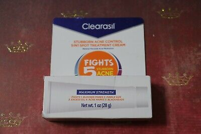 Clearasil Stubborn Acne Control 5 IN 1 Spot Treat Cream 1 OZ EXP 09/20