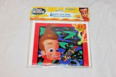 NEW IN PACKAGE  2002 JIMMY NEUTRON  8- LOOT BAGS PARTY SUPPLIES  - Jimmy Neutron Party
