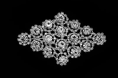 Rhinestone Motif Silver Diamante Sew on Applique Wedding Crystals Patch 008