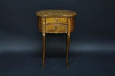 Beistell Kommode Tisch 2-schübig Holz intarsiert Barock Stil um 1960/70 (C124)