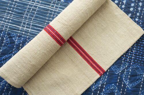Antique European Hemp Grain Sack Beautiful Red Stripes with Blue/Green Stitching