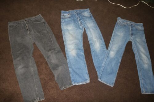 lot of 3 pairs Levis 501 jeans hige fade 31 x 28 USA made 80s