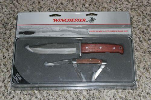 NEW Winchester Fixed Blade & Stockman Knife Set + Tin & Sheath Pocket Folding