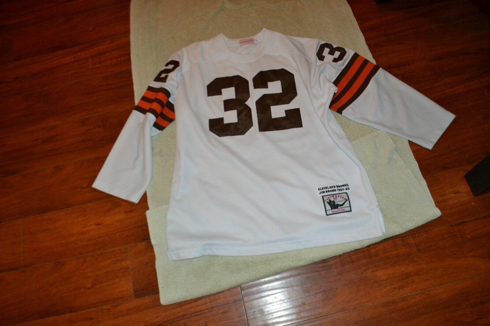 newest 07d0d 92826 Jim Brown Cleveland Browns Mitchell & Ness Throwback Jersey L