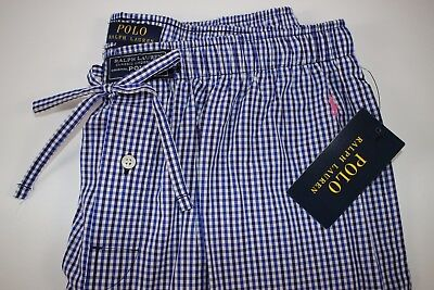 NWT RALPH LAUREN Size M Mens Navy Gingham Check Cotton Light Weight Lounge Pant