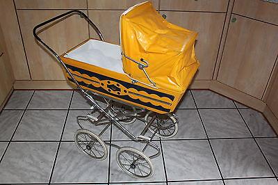 Puppenwagen alt, gelb blau - original 60er - 70er Jahre - Vintage