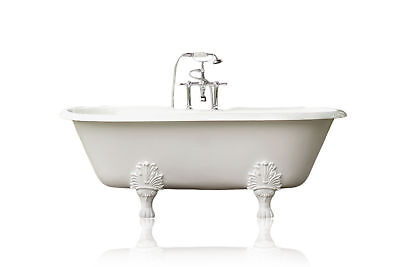 """Double Ended 72"""" Cast Iron Porcelain Clawfoot Bathtub Package Original Finish"""
