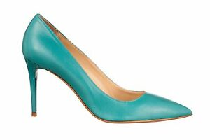 MORI-MADE-IN-ITALY-POINTY-HIGH-HEELS-PUMPS-SCHUHE-LEATHER-TURCHESE-BLUE-BLAU-44