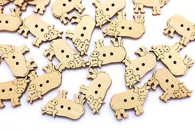 Cow Wood Sewing Button Two Holes Flat Animal Cute DIY Craft Material 24mm 100pcs](Cow Costume Diy)