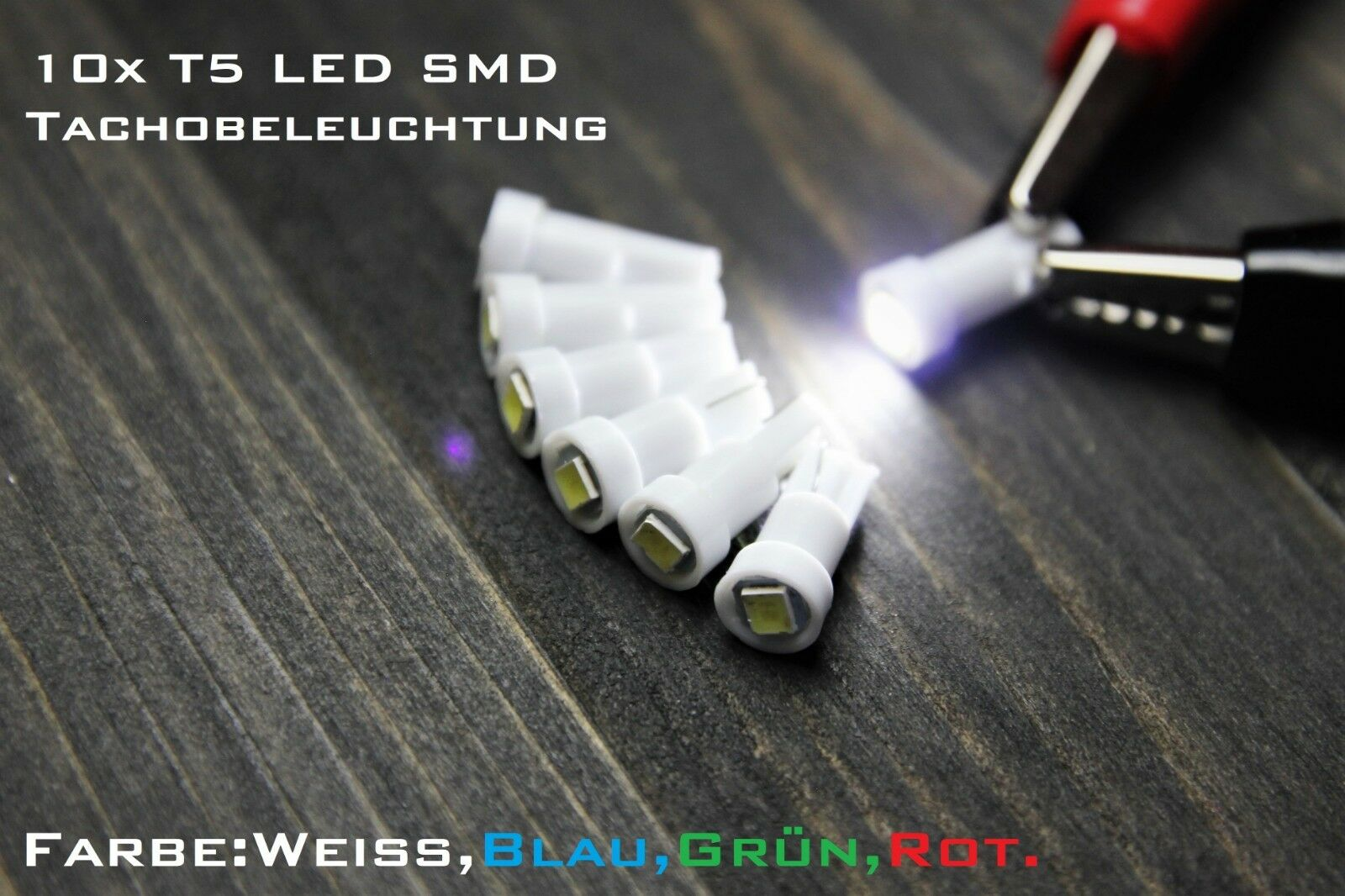 10x T5 LED SMD Tachobeleuchtung Innenraum W1,2W Rot Weiß Blau Grün
