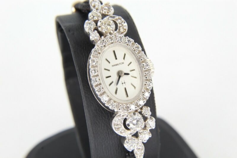 Hamilton Ladies 14k White Gold & 1 CTW Diamond Automatic Watch