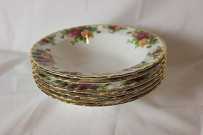 "6 Royal Albert Old Country Roses  rimmed 8"" soup bowls"