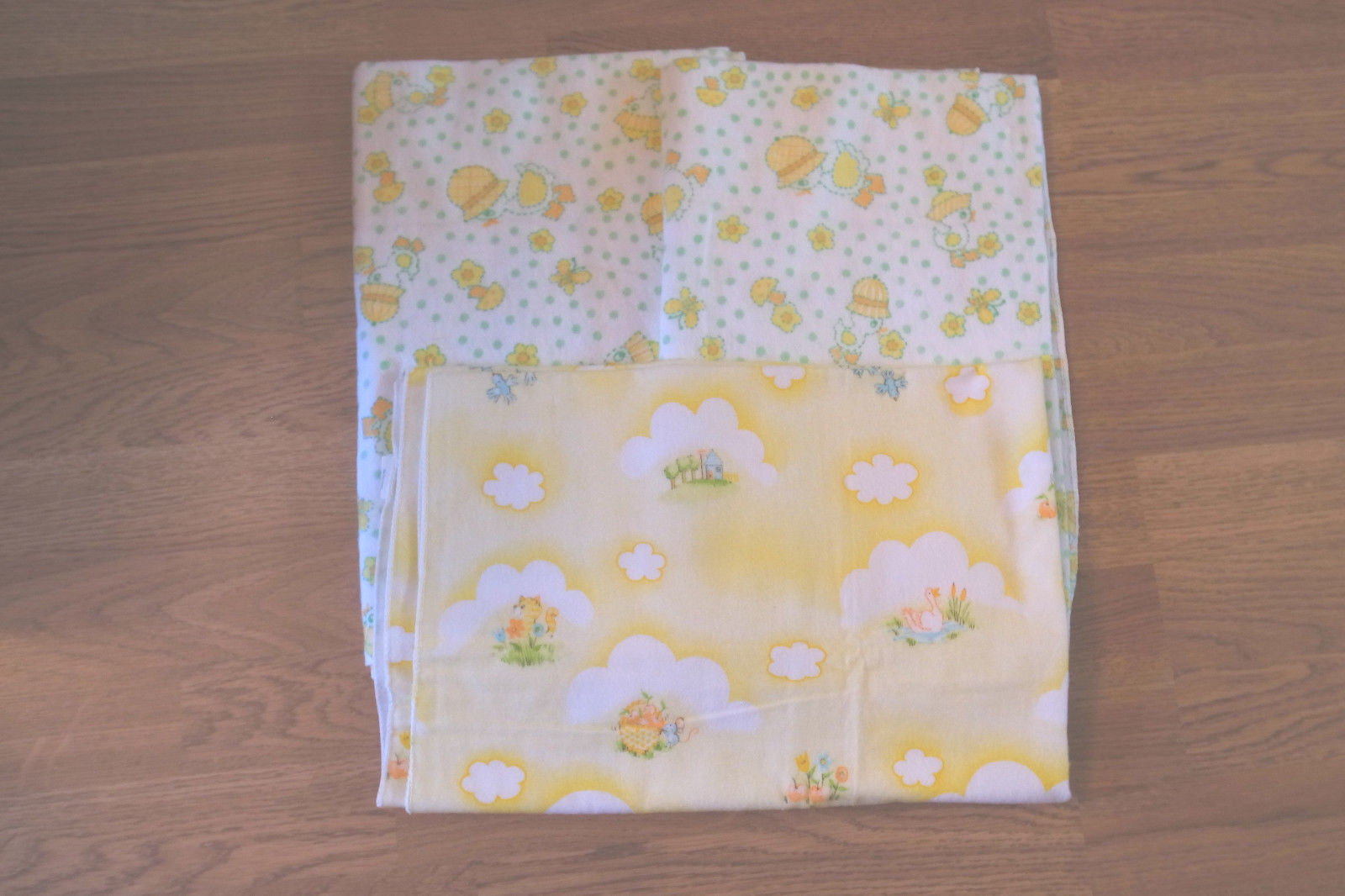 3 Vintage DUNDEE Baby Nursery 100% Cotton Flannel Receiving