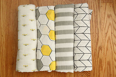 "Aden Anais Swaddle Blanket ~ White, Yellow & Gray ~ Bees ~ Honeycomb ~ 47"" x 47"""