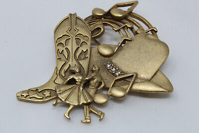 Goldtone AJC American Jewelry Chain Country Music Cowboy Themed Pin Brooch F1 - Music Themed Dress Up