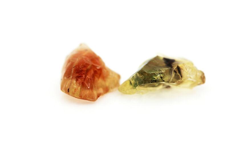 AAA Red & Green PAIR - OREGON SUNSTONE - Facet Grade Rough Gemstone - 27.40ct.