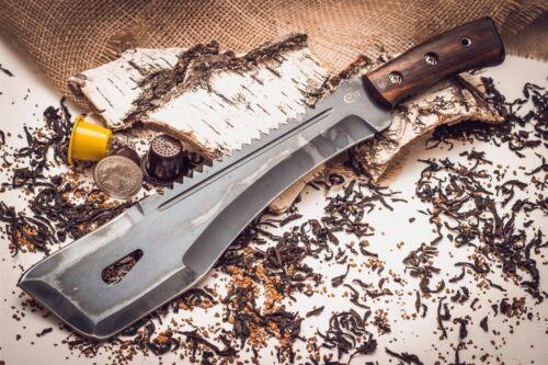 Russian TAIGA-2 Y8 MACHETE Knife tool wood handle with leather sheath by Semin
