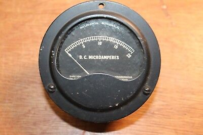 Vintage Roller-smith Dc Ammeter Type Tdh Mr36b020dcua Microamperes 0-20 Scale