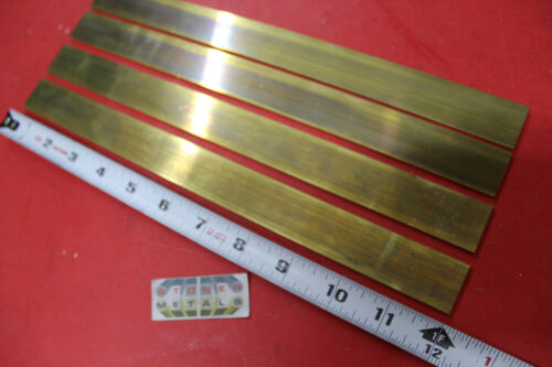 "4 Pieces 1/8"" x 1"" C360 BRASS FLAT BAR 12"" long Solid Plate .125"" Mill Stock H02"