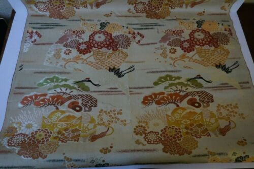 Antique Vintage, Bolt Chinese Silk Woven Brocade Fabric Cranes 2 yards plus