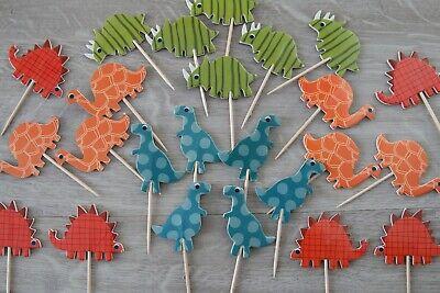 24 ❤ Muffin Topper ❤ für Jungs Dinosaurier Cupcake Geburtstag Kuchenstecker