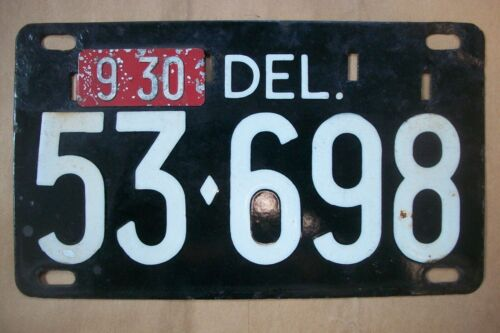 Vintage Delaware Black Porcelain License Plate