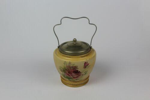 Antique BURSLEY England Hand Painted Porcelain Floral Biscuit Barrel