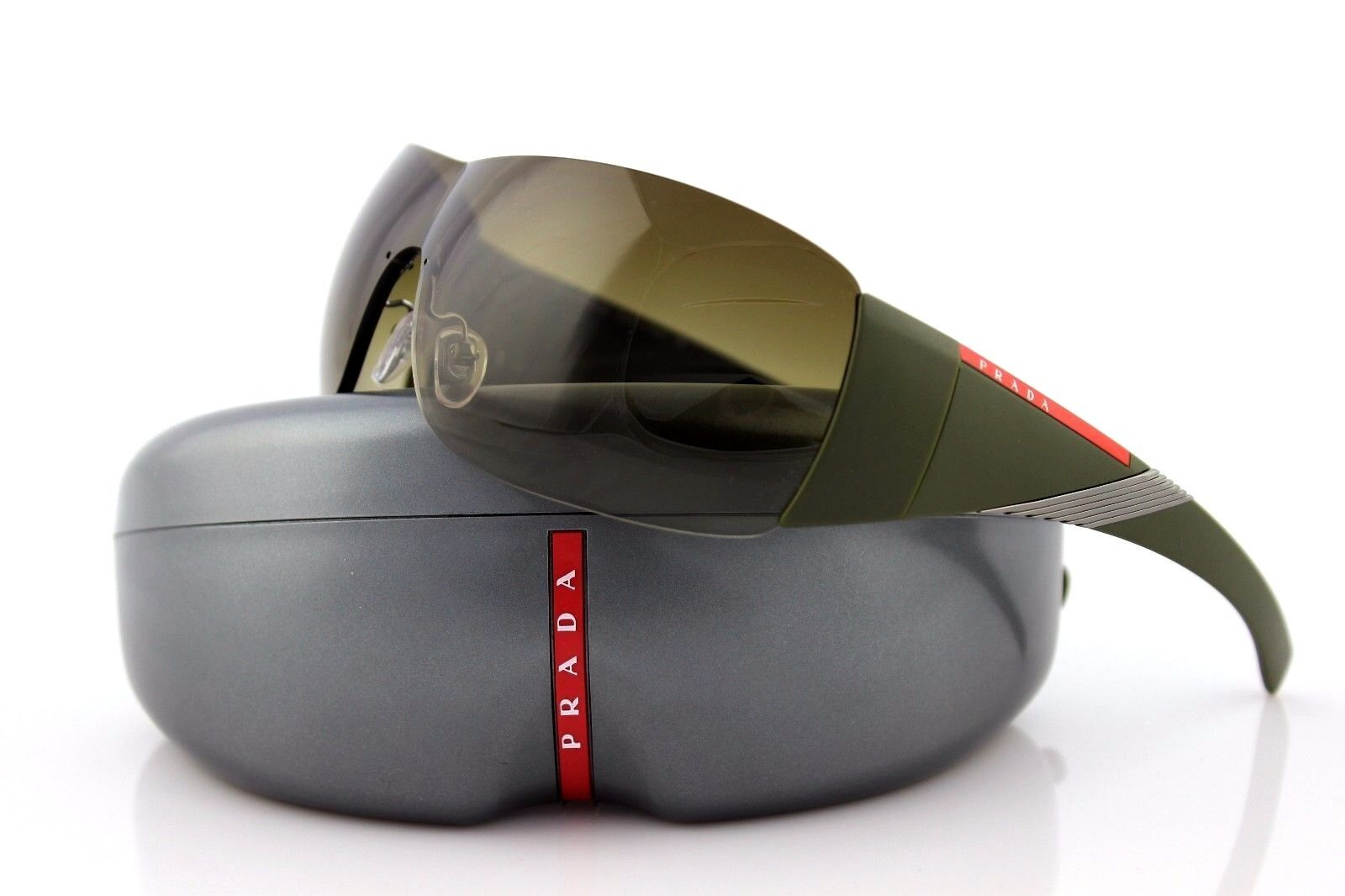 f9c08f1e21 RARE NEW Genuine PRADA Sport Shield Khaki Sunglasses PS 07HS SPS 07H 7Y5  1X1 O7H фото