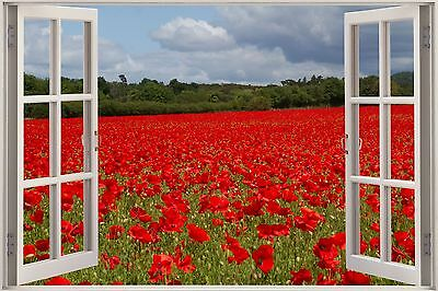 Huge 3D Window Wild Poppy Field View Wall Sticker Mural Art Decal Wallpaper 1107