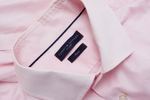Men Tommy Hilfiger Tailored Formal Shirt Pink Fitted Cotton 39 15.5 MJA187
