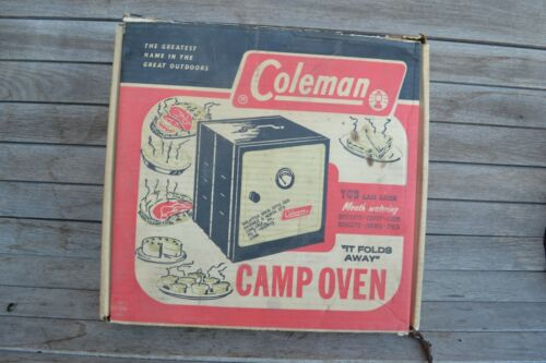 VINTAGE COLEMAN FOLDING CAMP COOKING OVEN WITH BOX