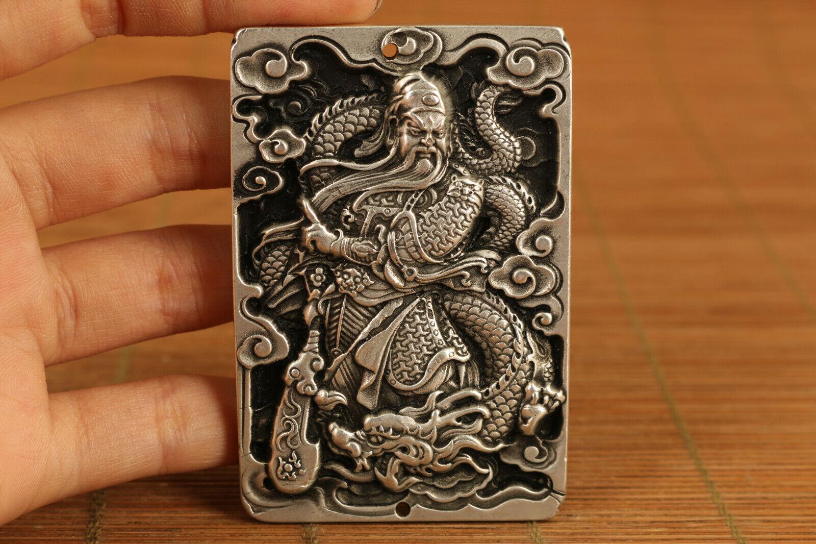 Old tibet silver hand casting love art statue netsuke pendant necklace