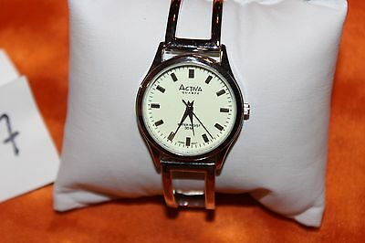 Activa Watch Womens White Stainless Silver Easy Read  F97