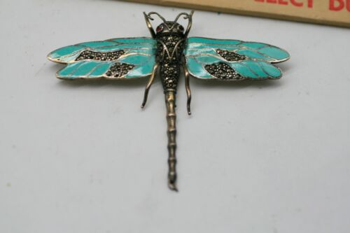 Antique Art Nouveau sterling silver enamel dragonfly brooch c 1920-1930 A36