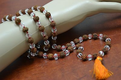 RUDRAKSH WITH CRYSTAL FACTED JAPA MALA ROSARY 108 + 1 PRAYER BEADS 6MM #T-1834