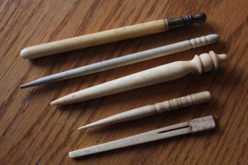 Vintage Bovine Bone Sewing Tatting Needles Shuttle tool case brass Antique