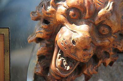 19C French Fantasy Mythical Carved Walnut Griffin/Gargoyle/Dragon Viardot Mirror