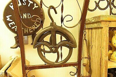 3  OLD STYLE  FARM  WATER   WELL  &  BARN   CAST IRON   ROPE WHEEL PULLEY