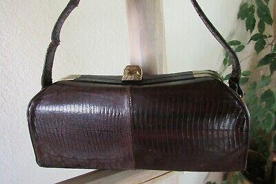 1950s Handbags, Purses, and Evening Bag Styles VINTAGE 1950s MADWED BURGUNDY GENUINE LIZARD S STAND-UP BARREL SHAPE EVENING BAG $15.00 AT vintagedancer.com