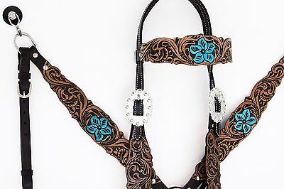 TURQUOISE FLORAL WESTERN LEATHER HORSE BRIDLE BREASTCOLLAR HEADSTALL TACK SET